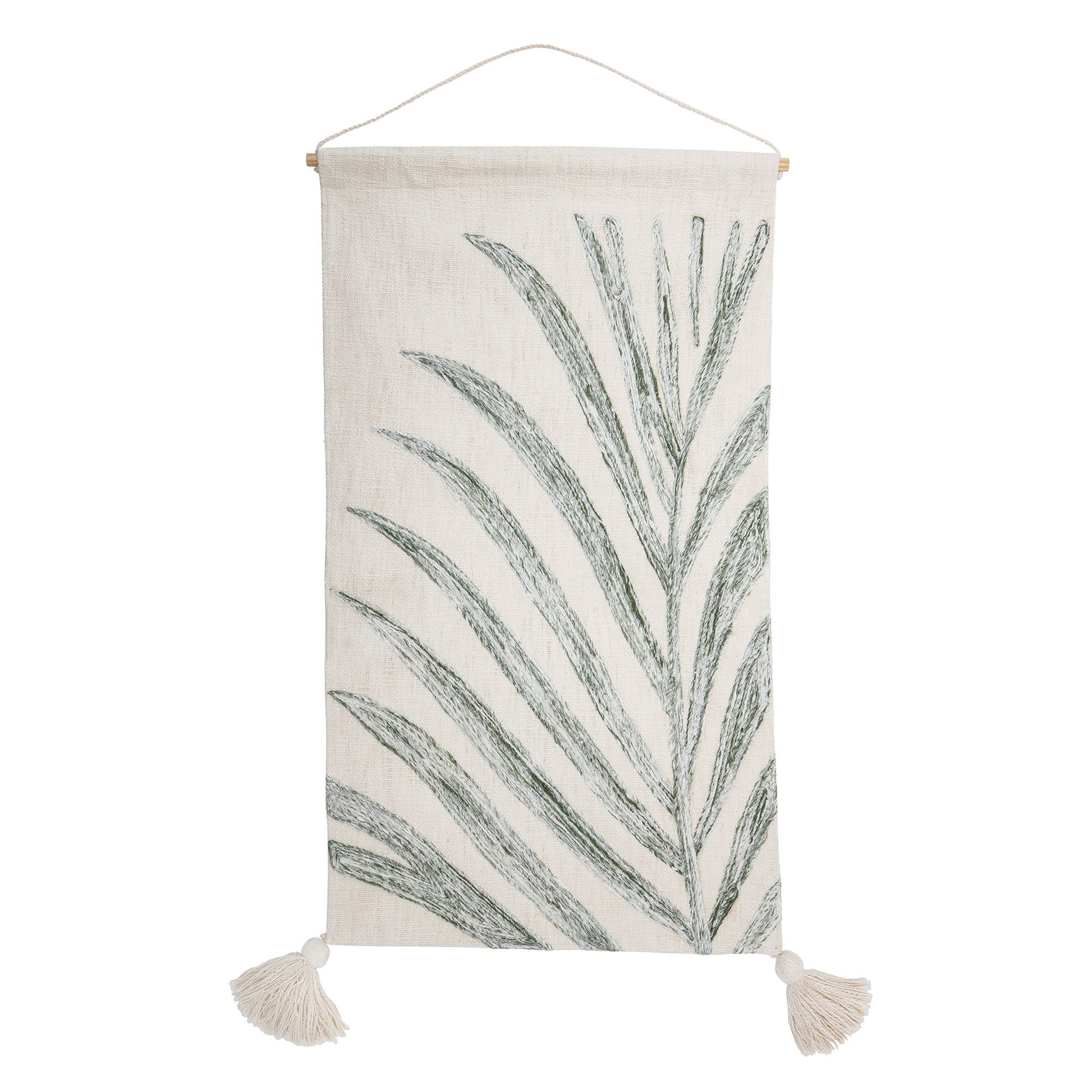 Off-White Woven Wall Hanging with Green Palm Frond & Tassels