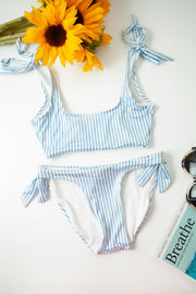 Stripped tie-up bikini set