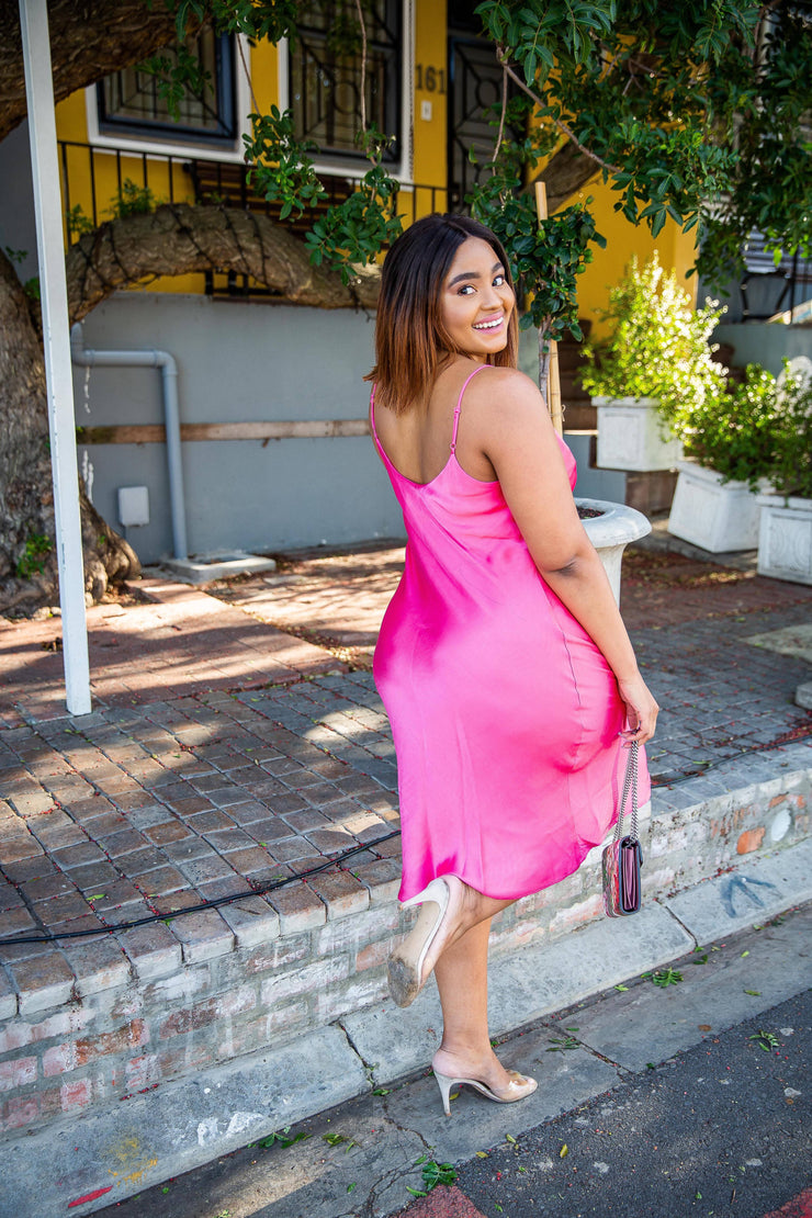 Zara Hot Pink Maxi Dress - WisiOi