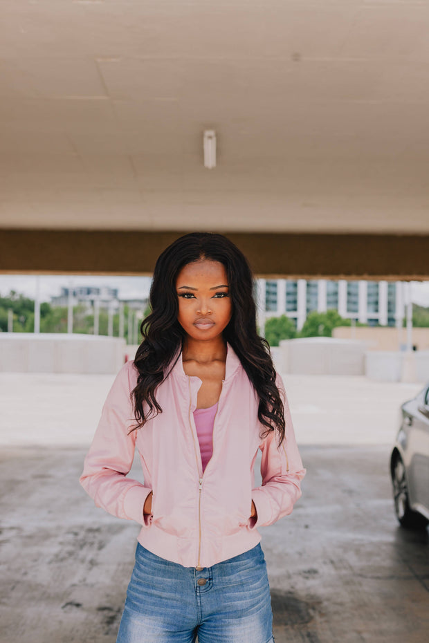Chanson Pink Bomber Jacket