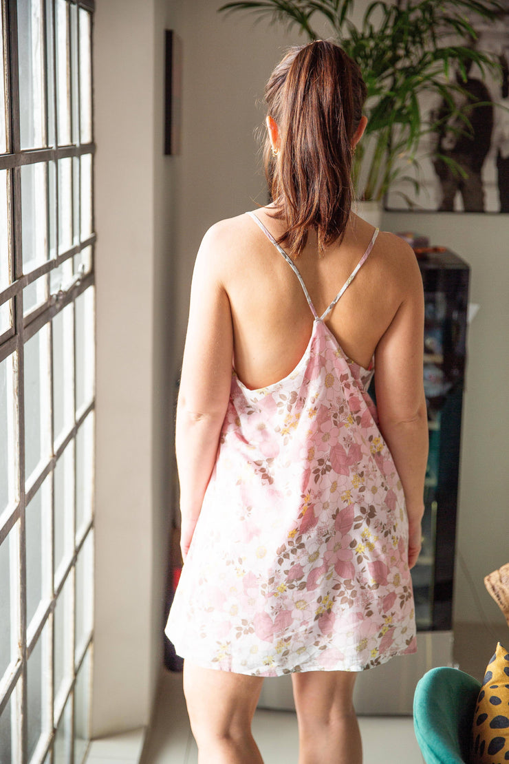 Floral summer dress with straps - WisiOi