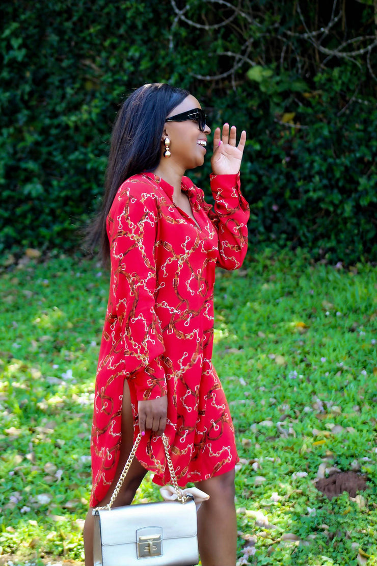 Zara Red Chain Shirt-dress