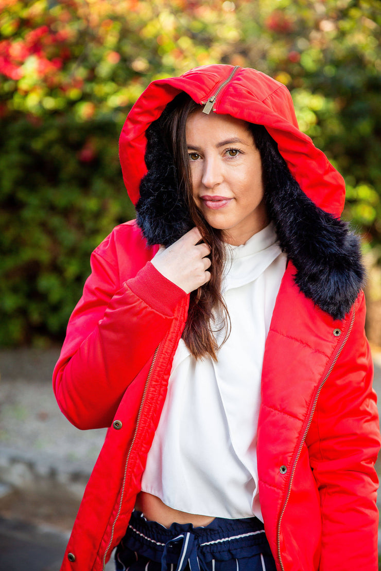 Red Hooded Bomber Jacket - WisiOi
