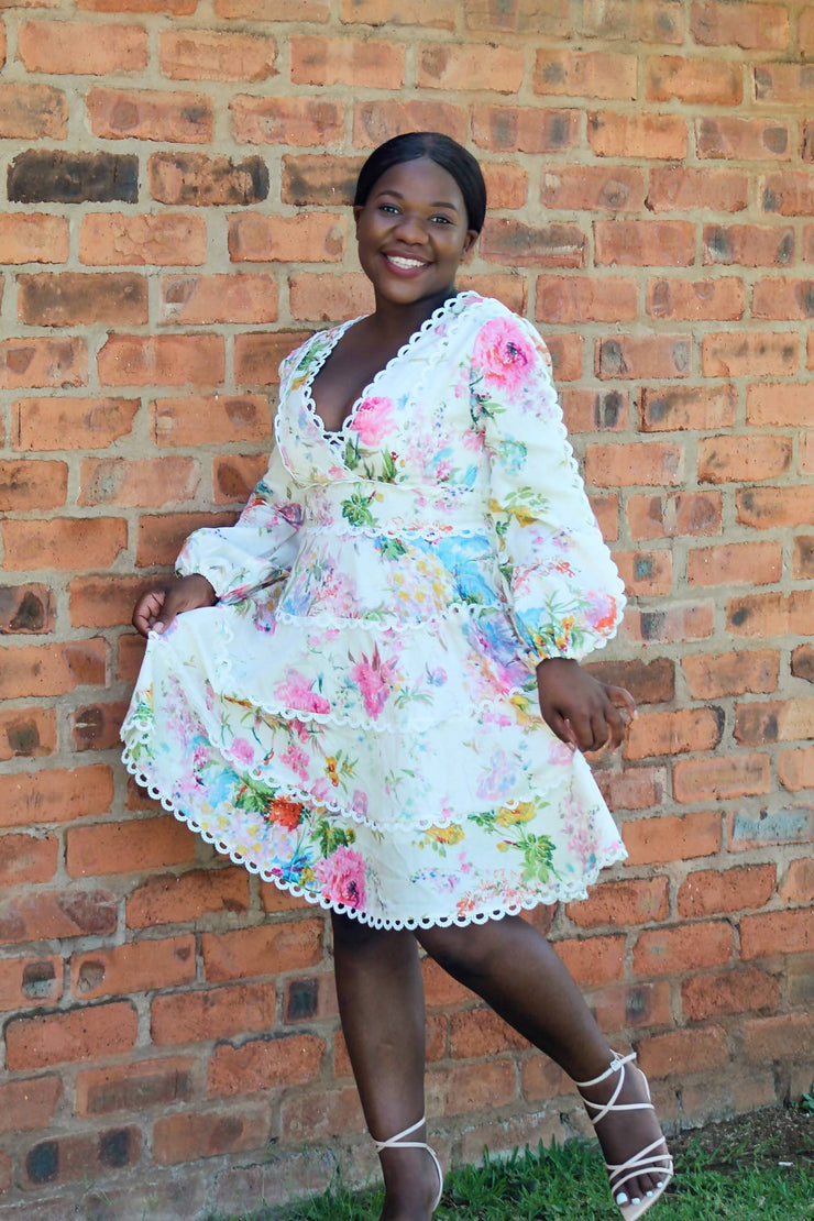 New Feeling Floral A-line Tea Dress - Wisi-Oi