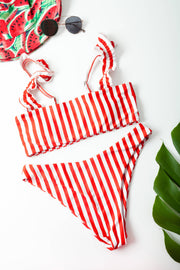 Frill striped bikini set