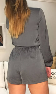 Grey Playsuit with Tie Front
