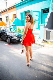 Fashion Nova Red Ruffle Mini Dress - WisiOi