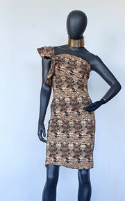 Brown Patterned Off-shoulder Dress - Wisi-Oi