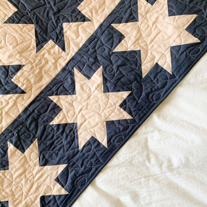 Blush Pink and Slate Blue Stars Align Quilt - Throw Size