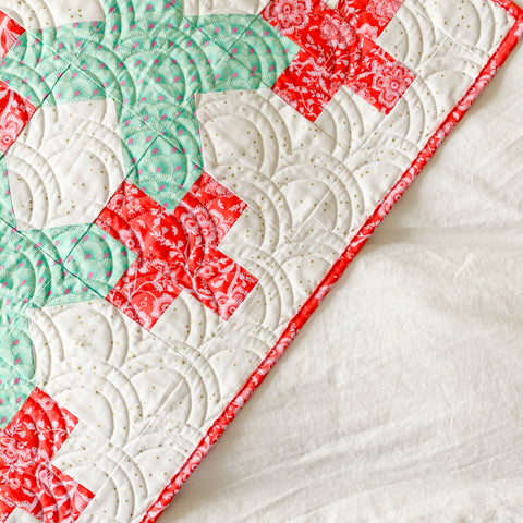 Mint and Red Alliance Quilt - Crib Size