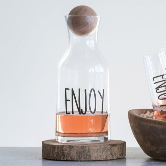 """Enjoy"" Carafe with Wood Stopper"