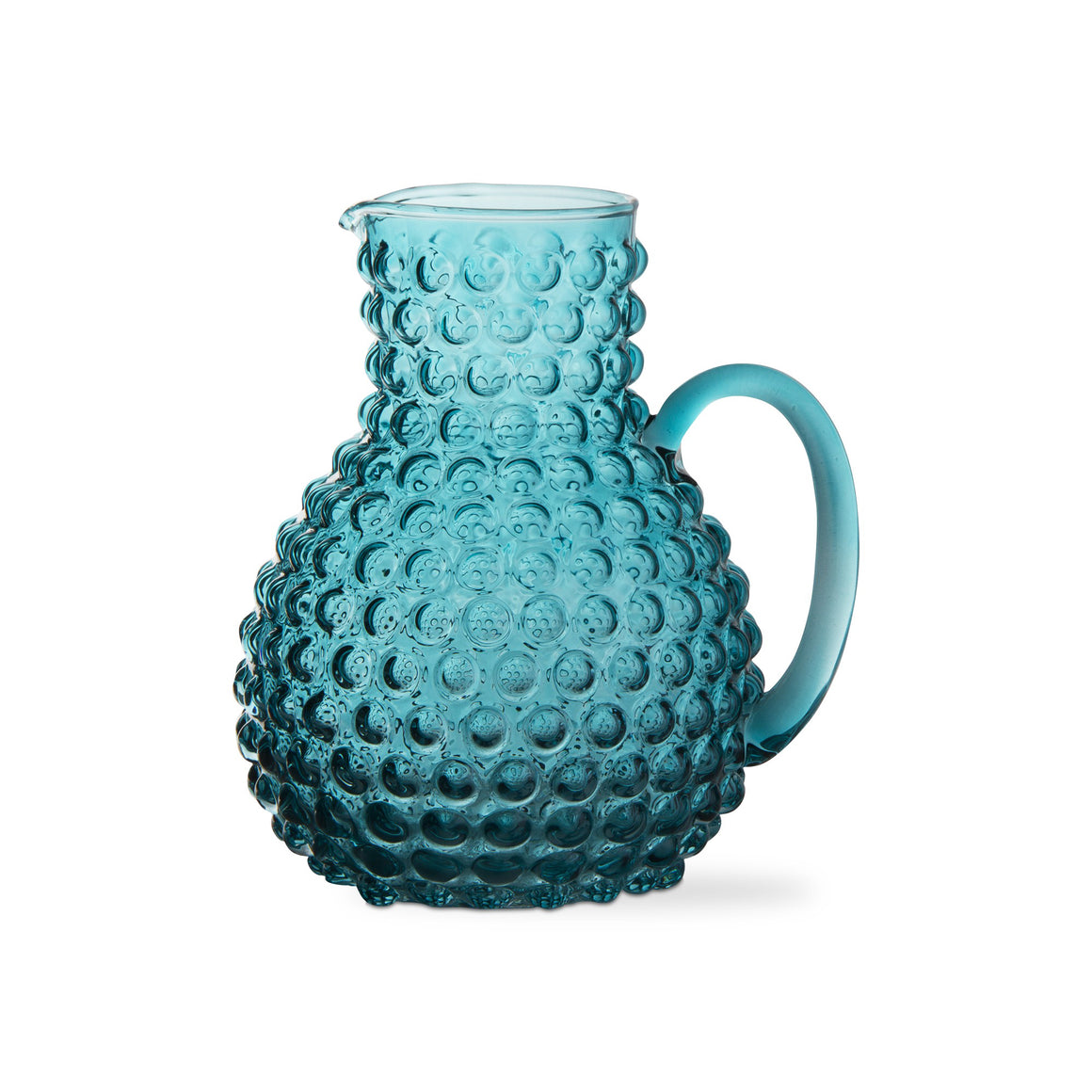 Aqua Hobnail Glass Pitcher