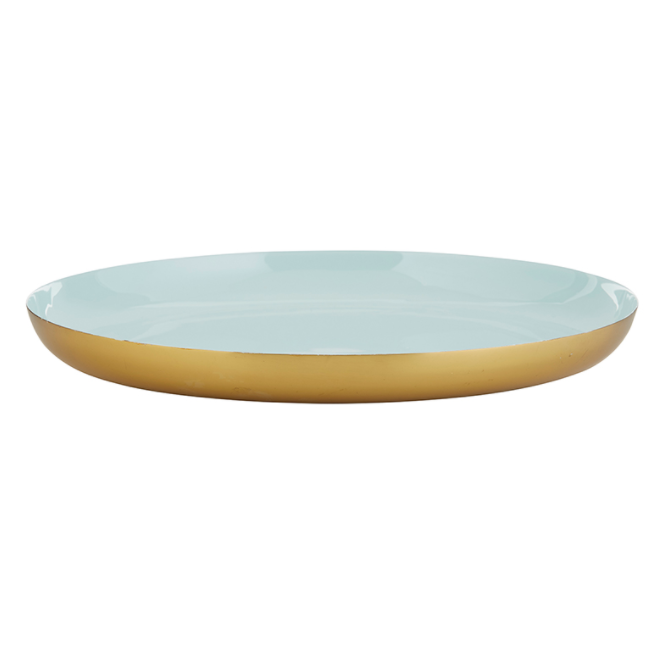 "12 "" Blue & Gold Brunch Tray"