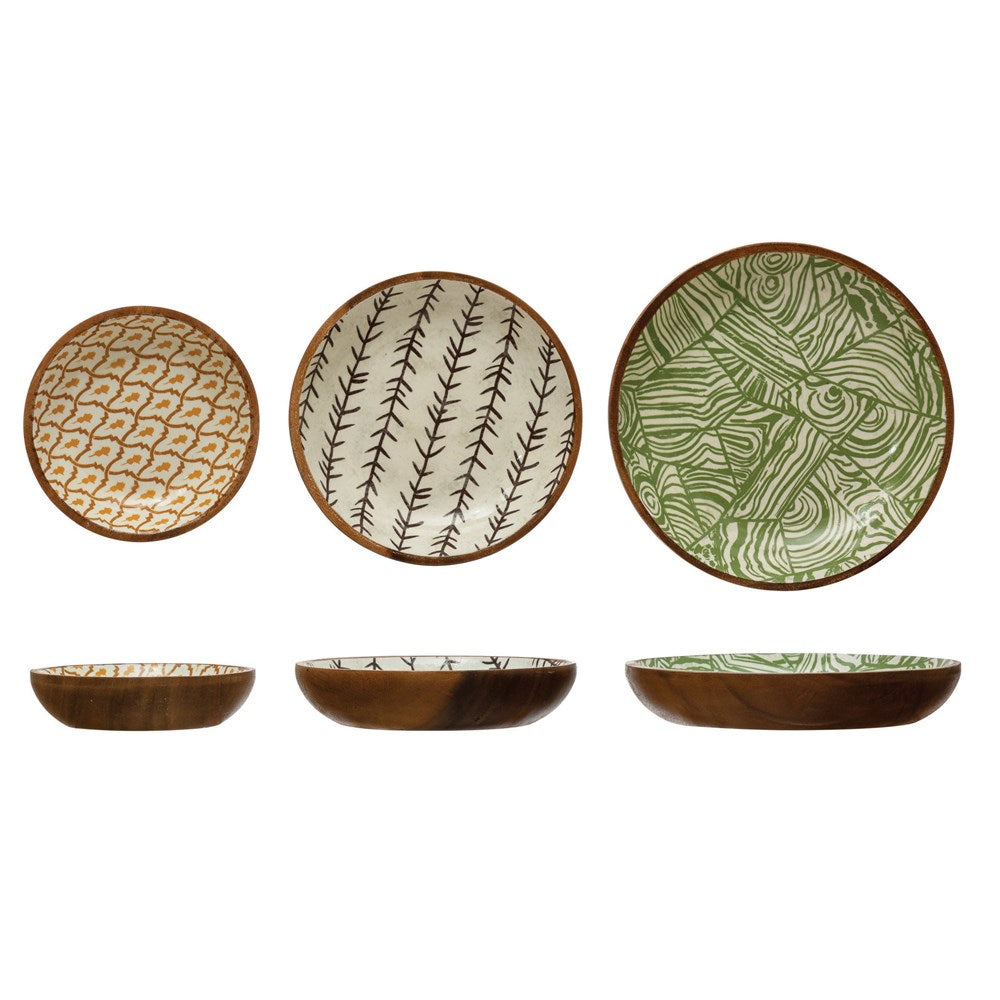 Round Acacia Wood Bowls with Print