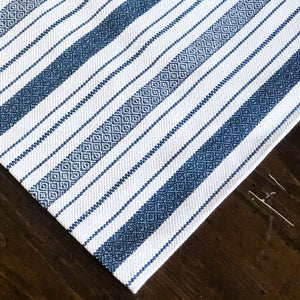 Blue & White Stripe Textured Table Runner