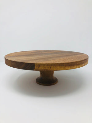 Round Elevated Wood Cake Stand