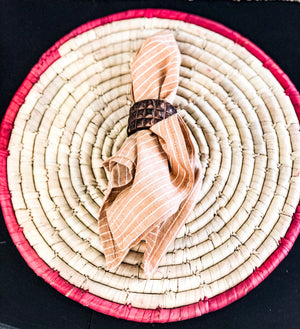 Round Hand-Woven Grass & Date Leaf Placemat w/ Berry Color Trim