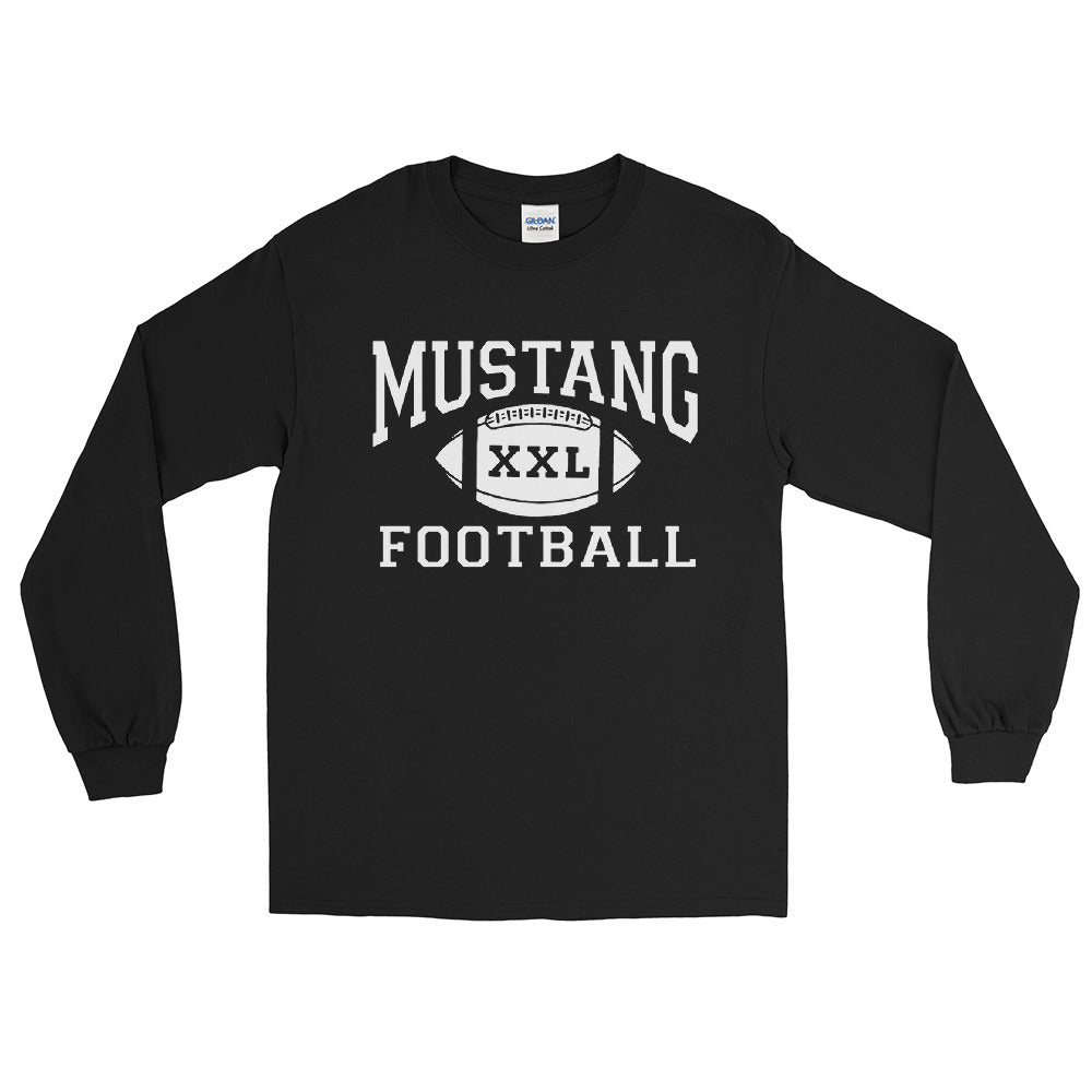 Mustang Football Long Sleeve T-Shirt - White Imprint