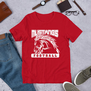 Mustang Football Unisex T-Shirt - White Imprint