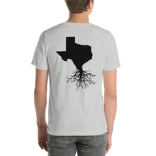 Load image into Gallery viewer, Texas Roots Unisex T-Shirt - Back Black Imprint