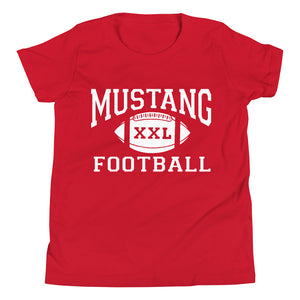 Youth Mustang Football T-Shirt - White Imprint