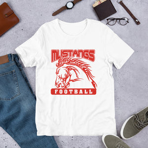 Mustangs Football Unisex T-shirt - Red Imprint