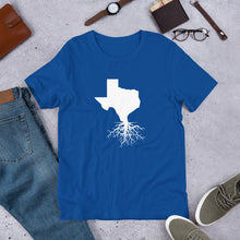 Load image into Gallery viewer, Texas Roots Unisex T-Shirt - Front White Imprint