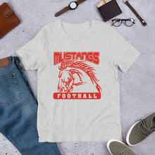 Load image into Gallery viewer, Mustangs Football Unisex T-shirt - Red Imprint