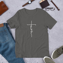 Load image into Gallery viewer, Faith (Cross) Unisex T-Shirt - White Imprint