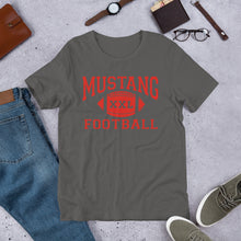 Load image into Gallery viewer, Mustang Football Unisex T-Shirt - Red Imprint