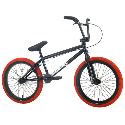 "2021 Sunday Blueprint 20"" Bike gloss black with red tires BMX Bikes 2020"