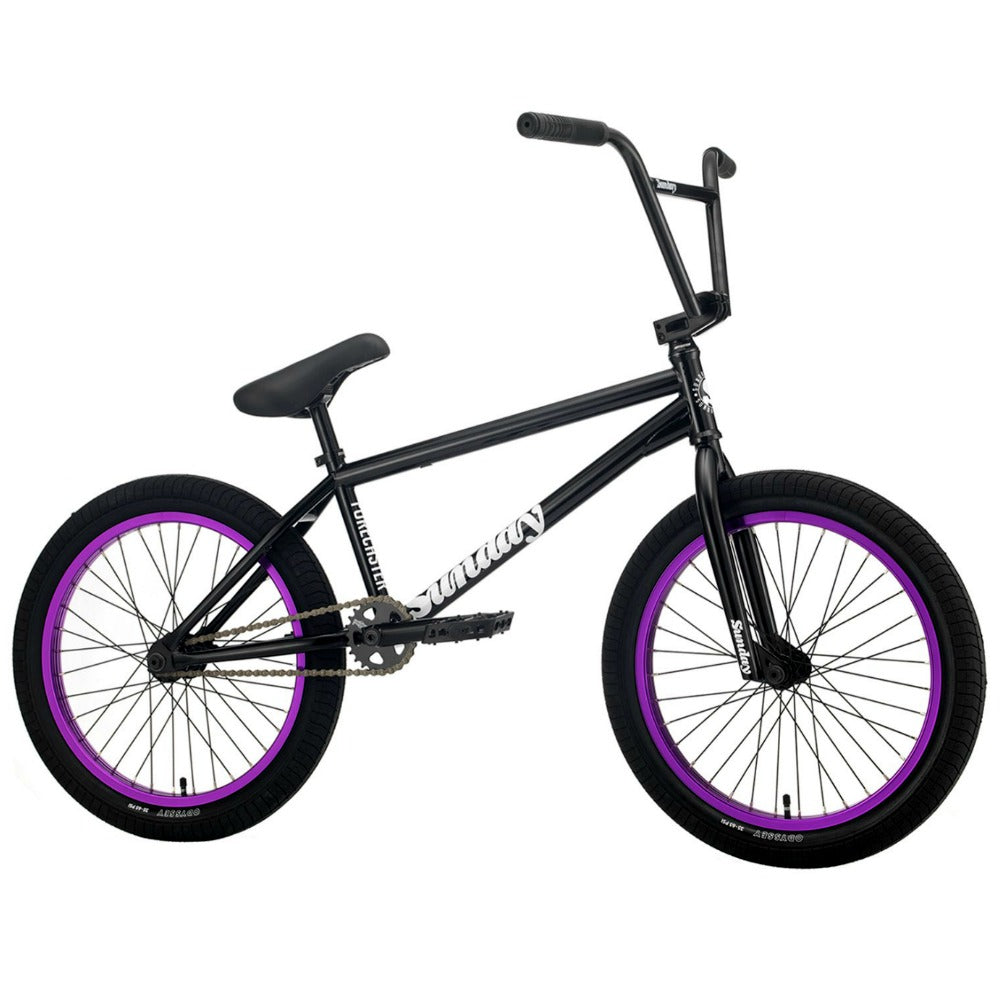 2021 Sunday Forecaster Bike gloss black with purple rims Alec Siemon BMX Bikes 2020 Freecoaster