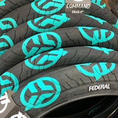 Federal Command LP Tire black teal stencil logos BMX Tires