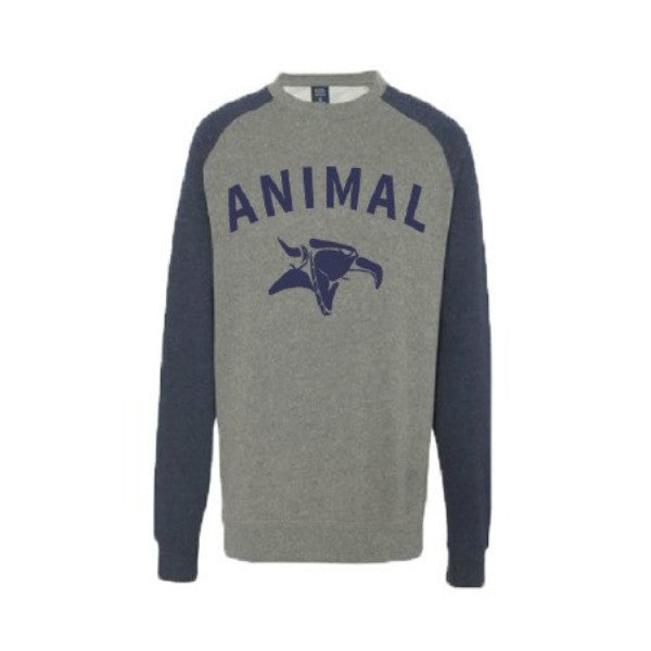 Animal Serif Crew Neck Sweatshirt navy pullover sweater