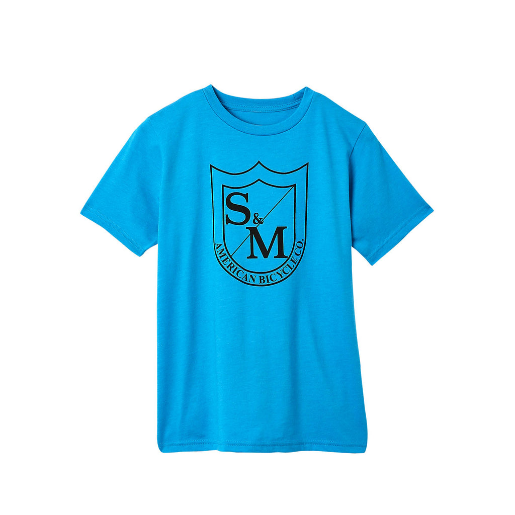 S&M Big Shield Kids Shirt turquoise blue Youth BMX Tee