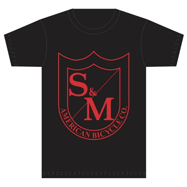 S&M Big Shield Shirt black red BMX Tee
