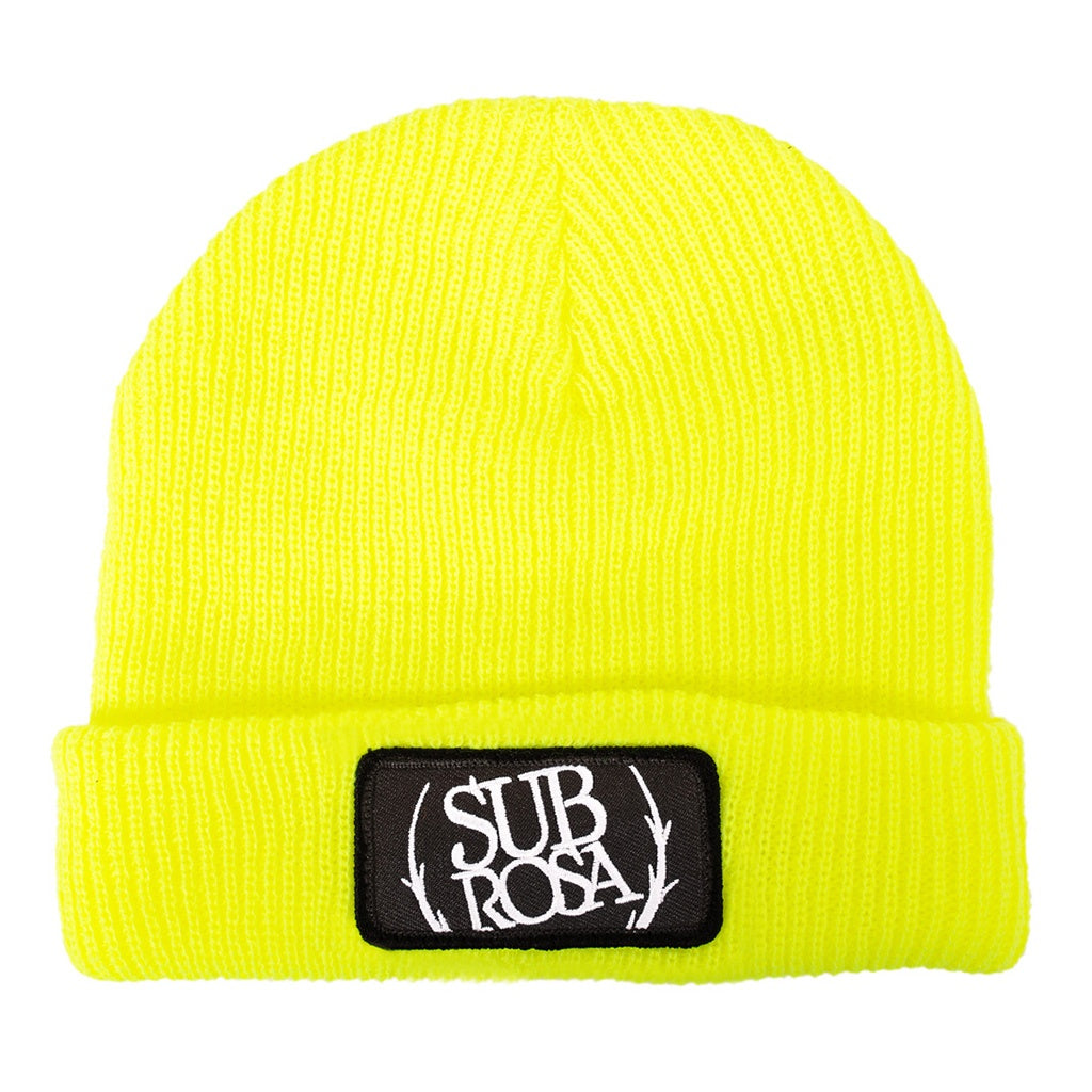 Subrosa Bold Patch Beanie highlighter yellow BMX Beanies
