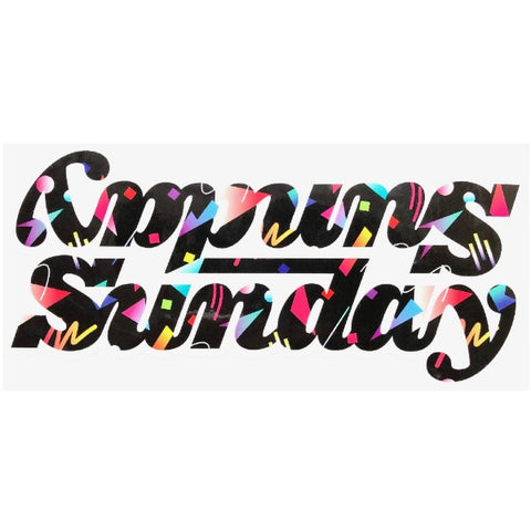 Sunday 80's Party Frame Decal Sticker Classy
