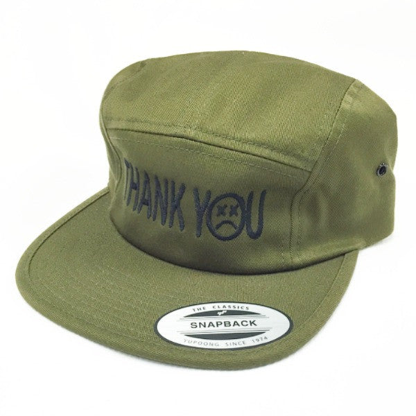 Thank You 5 Panel Camper Hat olive green