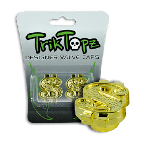 Trik Topz Dollar Sign Valve Caps gold BMX Trick Tops