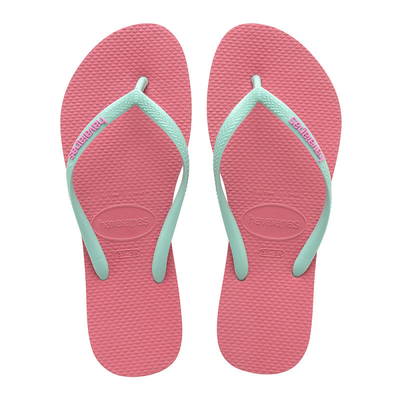 Havaianas Slim Logo Pop Up Rosa Porcelana Verde Orvalho