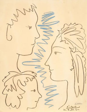 Pablo PICASSO (After) -  ART ET SOLIDARITE (3 VISAGES) - 1961