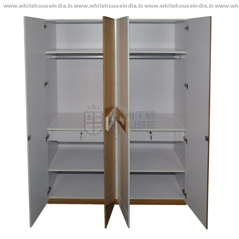 11E001 Wardrobe 4 Door Width=63 Height=79 Depth=23 Inc. / White Material Mdf With Deco Paint