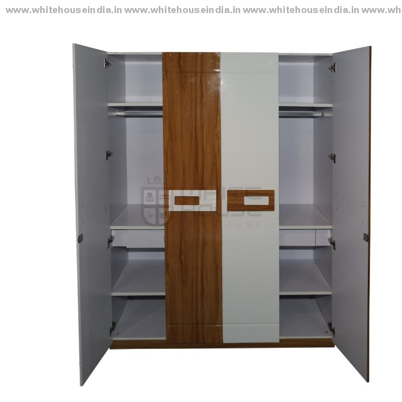 11E001 Wardrobe 4 Door Width=63 Height=79 Depth=23 Inc. / Yellow Material Mdf With Deco Paint