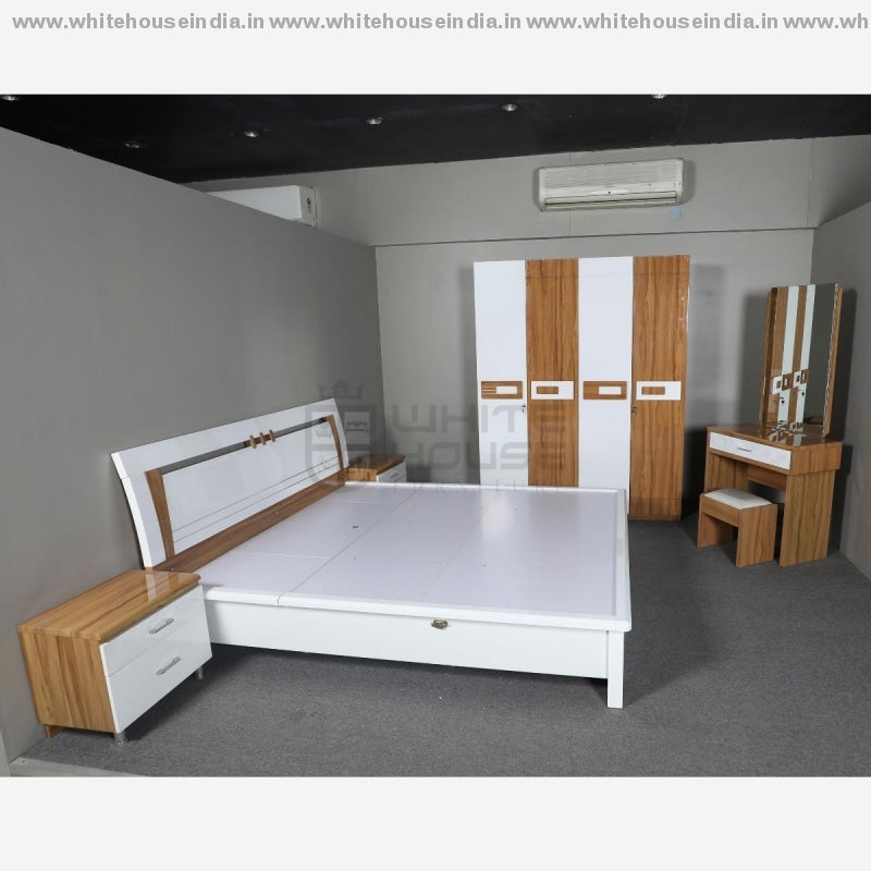 11E004 Bedroom Set 1.8M King Size Bed Matters = 71*79 Inc. / White Material Mdf With Deco Paint
