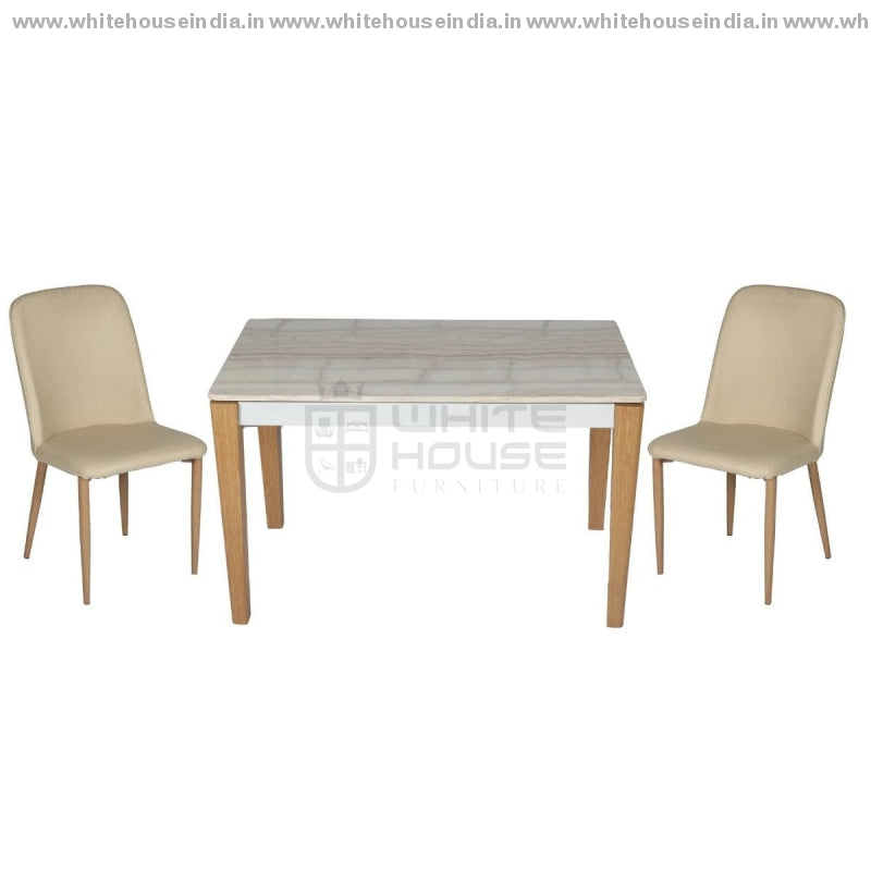 1212/t1213/y265 Dining Table Set (1+4) 1.2M*0.7M / Off White Wooden Base With Artificial Marble Top