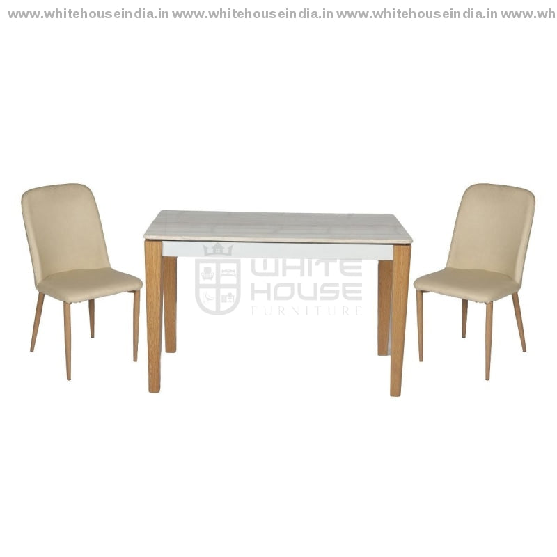 1212/t1213/y265 Dining Table Set (1+4) 1.2M*0.7M / Yellow Wooden Base With Artificial Marble Top