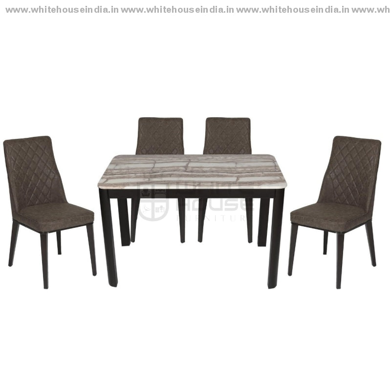 1218/t-1101/x1 Dining Table Set (1+4) 1.2M*0.7M / Brown Wooden Base With Artificial Marble Top Chair