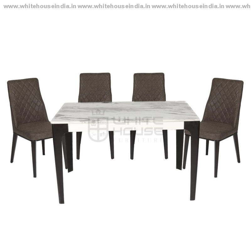 1219/t-1112G/x1 Dining Table Set (1+6) 1.5M*0.9M / White Wooden Base With Artificial Marble Top