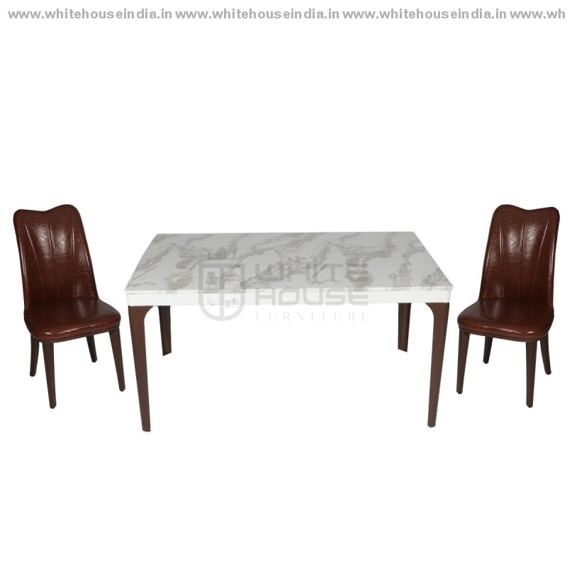 1221/t1110/x2 Dining Table Set (1+4) 1.2M*0.7M / Brown Wooden Base With Artificial Marble Top Chair